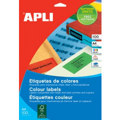 Etiketten Apli 1 etik/bl 210x297mm rood (100)