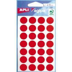 Etiketten Apli Ø 15mm rood (168)
