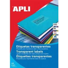 Etiketten Apli polyester transparant 24 etik/bl 70x37mm (100)