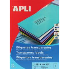 Etiketten Apli polyester transparant 1 etik/bl 210x297mm (100)