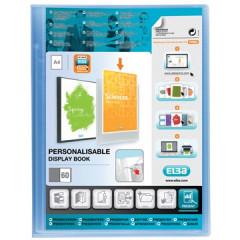 Showalbum Elba polyvision PP A4 60 tassen personaliseerbaar blauw transparant
