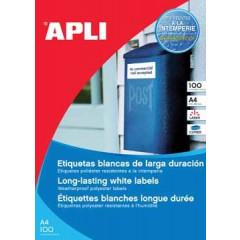 Etiketten Apli polyester waterbestendig 1 etik/bl 210x297mm wit (100)