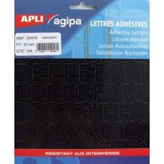 Etiketten Apli Agipa letters 20mm zwart (184)