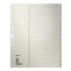 Tabbladen Leitz karton A4 maxi 1-31 3-gaats grijs