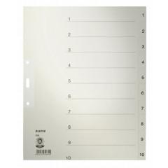 Tabbladen Leitz karton A4 maxi 1-10 3-gaats grijs