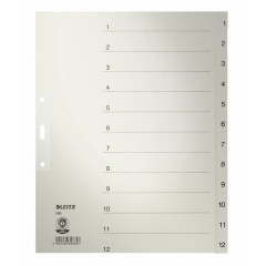 Tabbladen Leitz karton A4 maxi 1-12 3-gaats grijs