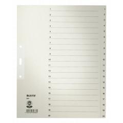 Tabbladen Leitz karton A4 maxi 1-20 3-gaats grijs