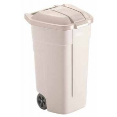 Afvalcontainer Rubbermaid Basis mobiel zonder deksel 100l wit