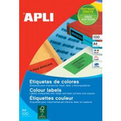 Etiketten Apli 16 etik/bl 105x37mm blauw (100)
