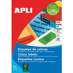 Etiketten Apli 4 etik/bl 105x148mm blauw (20)