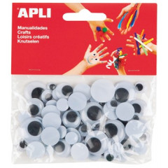 Bewegende ogen Apli kids 4-formaten zwart (75)