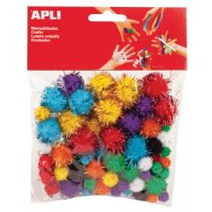 Pompons Apli kids 3 formaten assorti glitter (78)