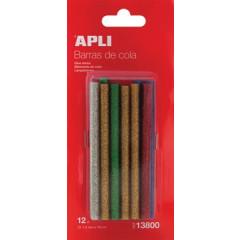 Lijmpatronen Apli voor lijmpistool glitter 7,5mm (12)