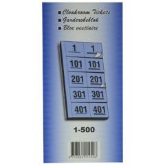 Garderobeblok 12x20cm 5 dubbele nummers 1-500 geel