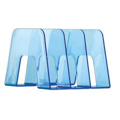 Boekensteun Han met 3 compartimenten blauw