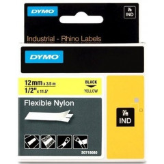 Dymo rhino tape flex nylon 12mmx3,5m zwart op geel (18756)