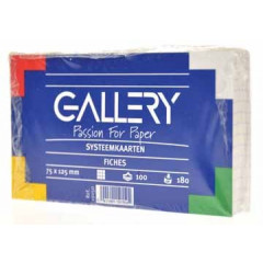 Systeemkaarten Gallery 7,5x12,5cm geruit wit (100)