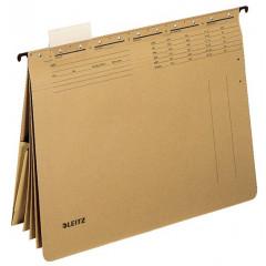 Hangmap Leitz Alpha karton A4 lade 330mm V-bodem 4-vaks met hechtstrip natuurbruin (25)