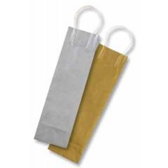 Geschenkzak voor flessen Folia 10x10x36cm goud/zilver (6)
