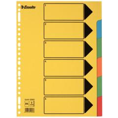 Tabbladen Esselte karton A4 220g 6 tabs 23-gaats assorti