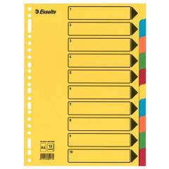 Tabbladen Esselte karton A4 220g 10 tabs 23-gaats assorti