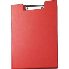 Klemplaat Maul met overslag en kopklem en insteekmap PP A4 rood