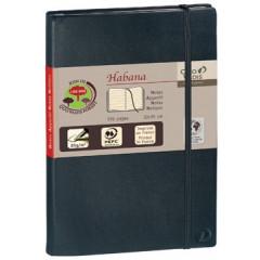 Notitieboek Quovadis habana met elastiek A4 gelijnd zwart