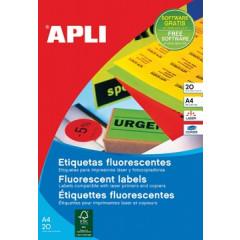 Etiketten Apli 24 etik/bl 64x33,9mm fluo rood (20)