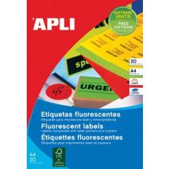 Etiketten Apli 1 etik/bl 210x297mm fluo rood (20)