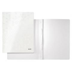 Snelhechtmap Leitz WOW gelamineerd karton A4 wit metallic