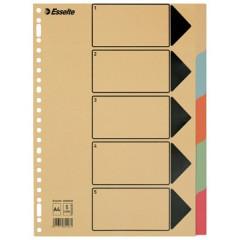Tabbladen Esselte karton A4 275g 5 tabs 23-gaats assorti