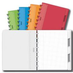 Schrift Adoc Colorlines PP A5 geruit 144blz met tabs, meetlat en elastiek assorti
