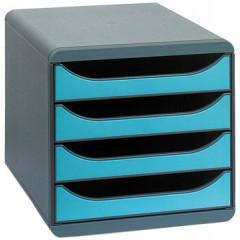 Ladenblok Exacompta Big Box Plus Classic PS A4 maxi 4 open laden zwart/turkoois
