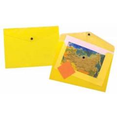 Documentmap Beautone A4 met drukknop geel transparant