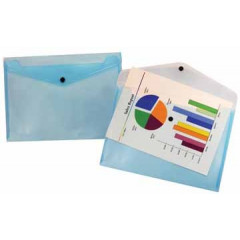 Documentmap Beautone A4 met drukknop blauw transparant