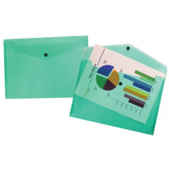 Documentmap Beautone A4 met drukknop groen transparant