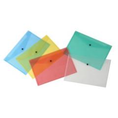 Documentmap Beautone A4 met drukknop assorti transparant