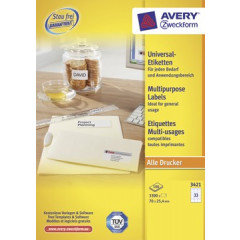 Etiket Avery Universeel 33 etik/bl 70x25,4mm wit (100)