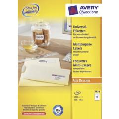 Etiket Avery Universeel 12 etik/bl 105x48mm wit (100)