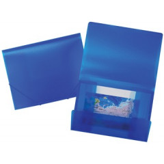 Elastomap Beautone 3 kleppen PP A4 frosted blauw