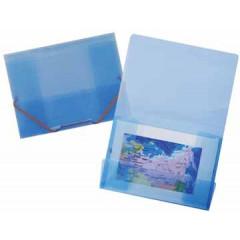 Elastomap Beautone 3 kleppen PP A4 blauw transparant