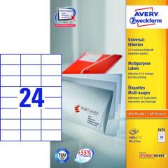 Etiket Avery Universeel 24 etik/bl 70x37mm wit (100)