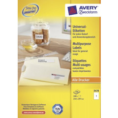 Etiket Avery Universeel 01 etik/bl 210x297mm wit (100)