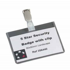 Badge STAR met clip 60x90mm wegwerp
