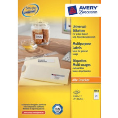 Etiket Avery Universeel 24 etik/bl 70x33,8mm wit (100)