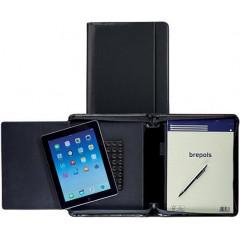 Schrijfmap Brepols Palermo voor tablet met ritssluiting en notitieblok zwart