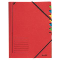 Sorteermap Leitz A4 karton 7-vaks rood