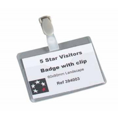 Badge STAR met clip 60x90mm herbruikbaar