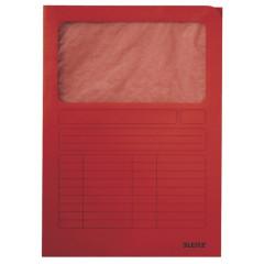 L-map Leitz met venster karton A4 160g rood (100)