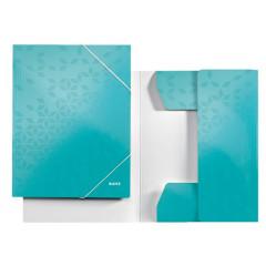 Dossiermap Leitz WOW gelamineerd karton A4 3-kleppen ijsblauw metallic (3982051)
